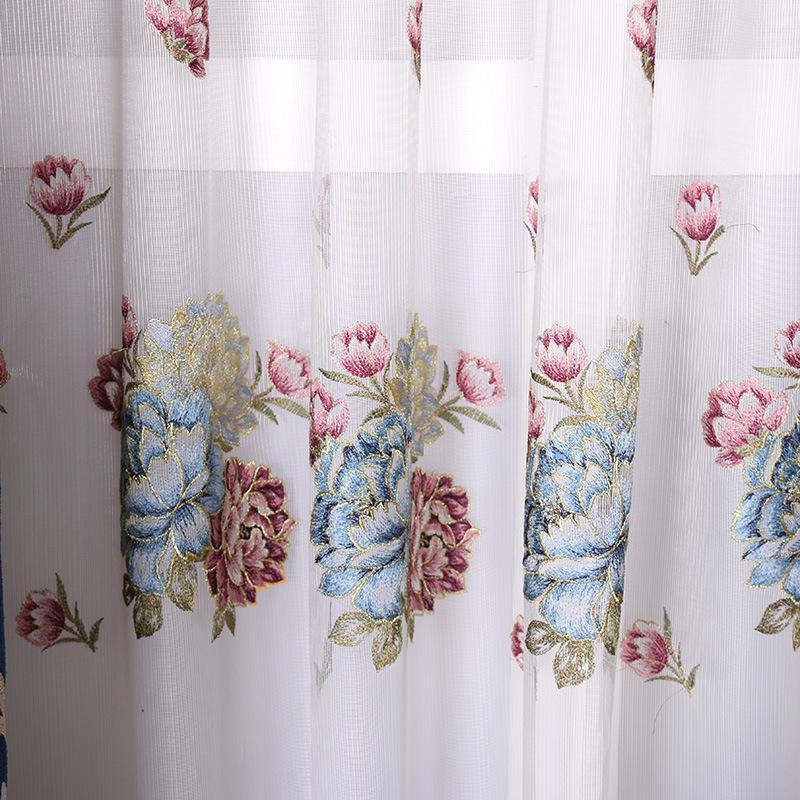 Blauw Paars mand van bloemen poeder kamer gordijnen Borduurwerk Gordijn Klassieke woonkamers slaapkamer de gordijn van kleedkamer - 3