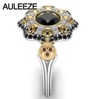 Natural Agate Flower Engagement Ring Solid 10K Two Tone Gold Unique Skull Series Ring Simulated Diamond