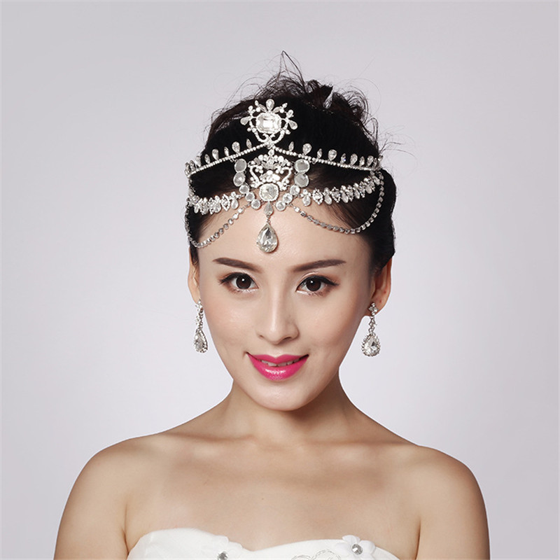 Fashion Sparkly Crystal Bridal Head Chain indian hair jewelry ...