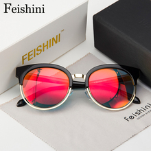 FEISHINI 18201 Brand Designer Superstar UV400 Sunglasses Women Cat eye 2017 High Quality Classic Round Sunglass Steampunk Mirror