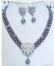 Women Gift Freshwater 2 Rows Real Black Pearl White Crystal Pendant Earrings Necklace Set