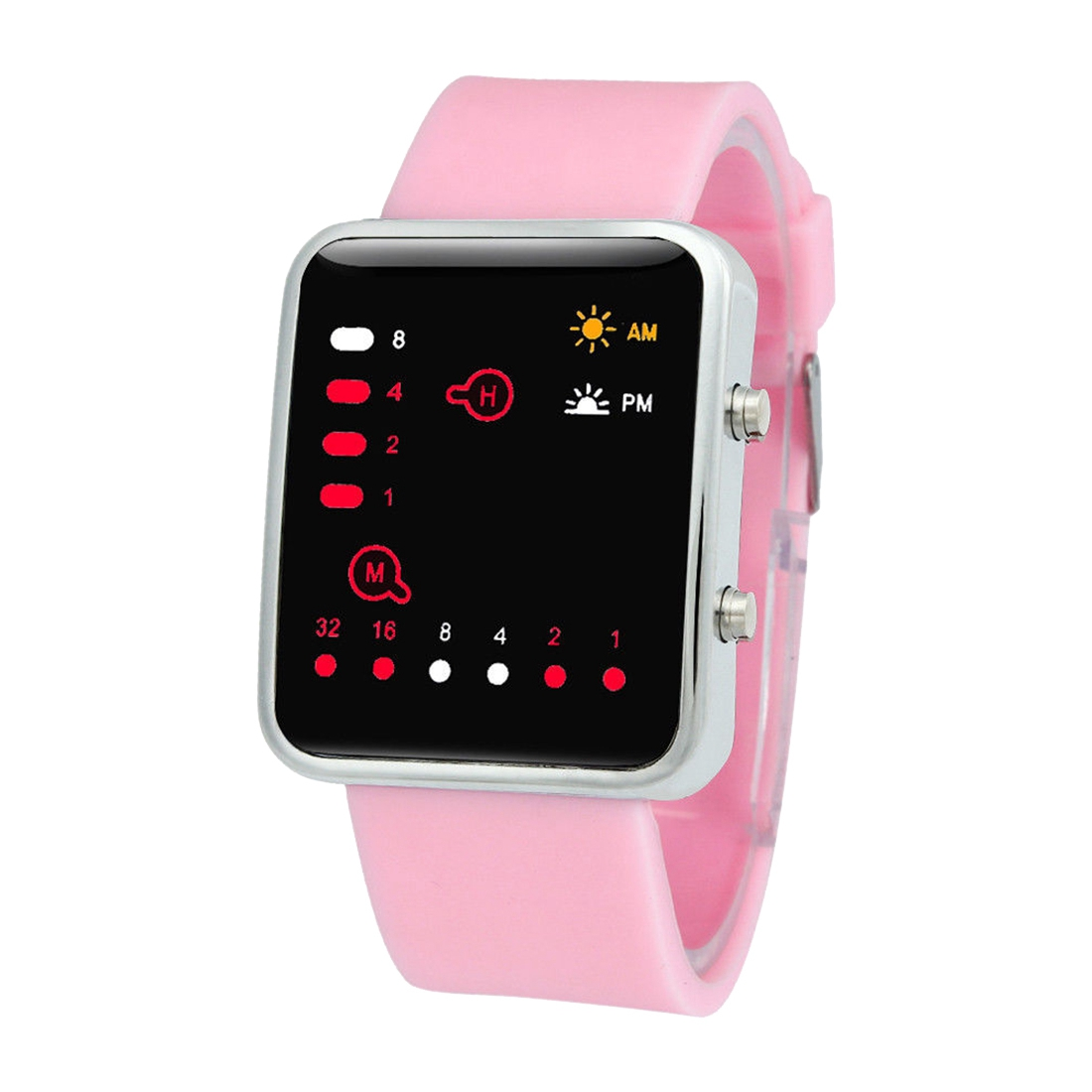 Unisex Silicone Sport Watch Red LED Digital Binary Wrist Sport Item Color:Pink