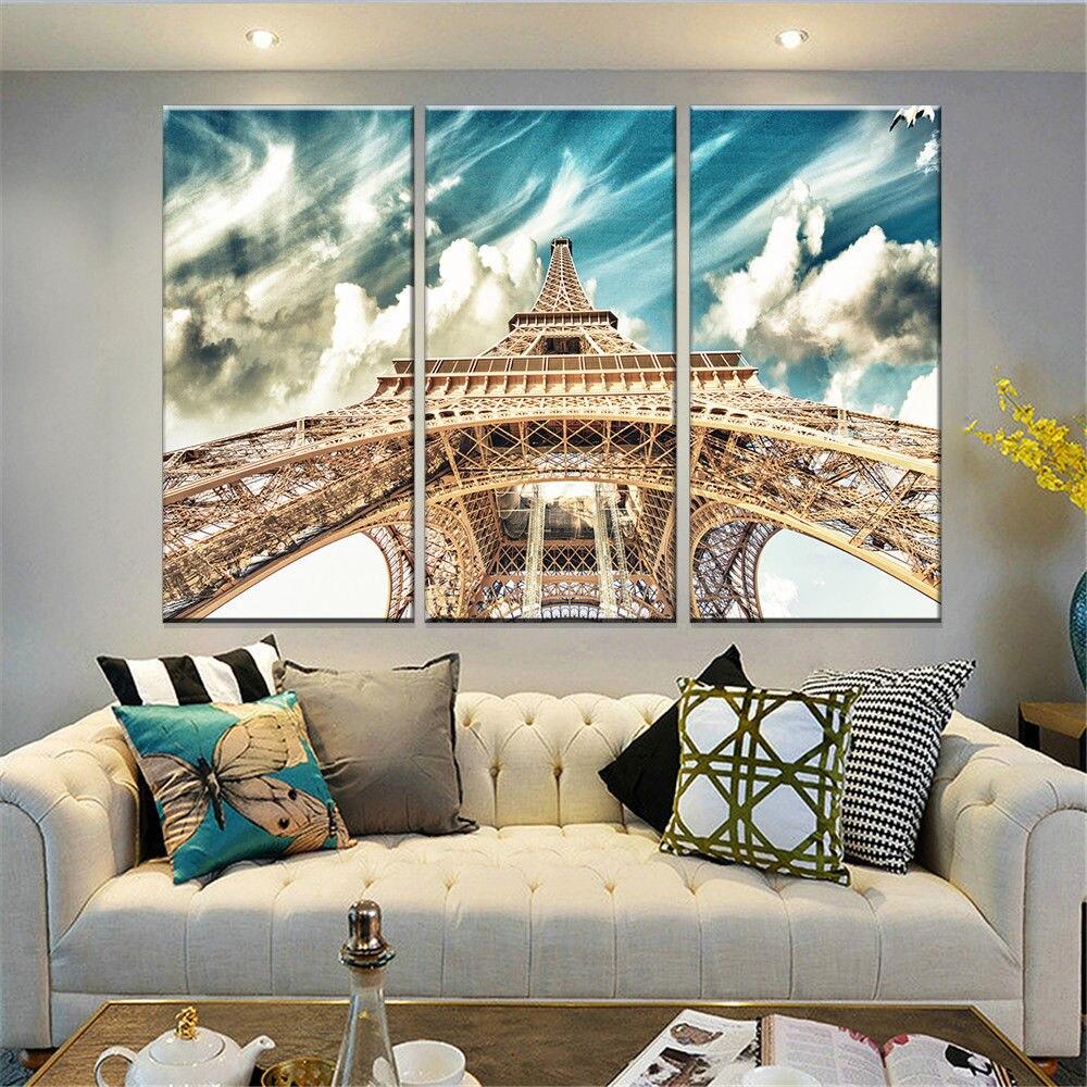 Torre Eiffel 3 Pain Is Da Parede Da Lona De Arte Pinturas De  -> Decoracao Sala De Artes