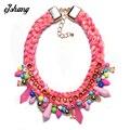 New 2016 Women Fashion ZA Handmade Bead Stone Necklace Pendant Big Bib Collar Weave Chain Choker Maxi Statement Boho Jewelry