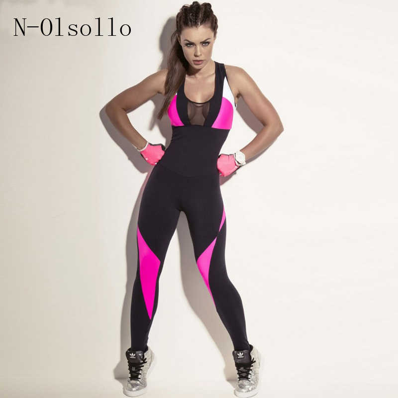 4939e6c4d62 Fashion Mesh Bodysuit Women Fitness Yuga Stretch Sexy Jumpsuits Backless  Candy Pink Black Patchwork Overall Hollow