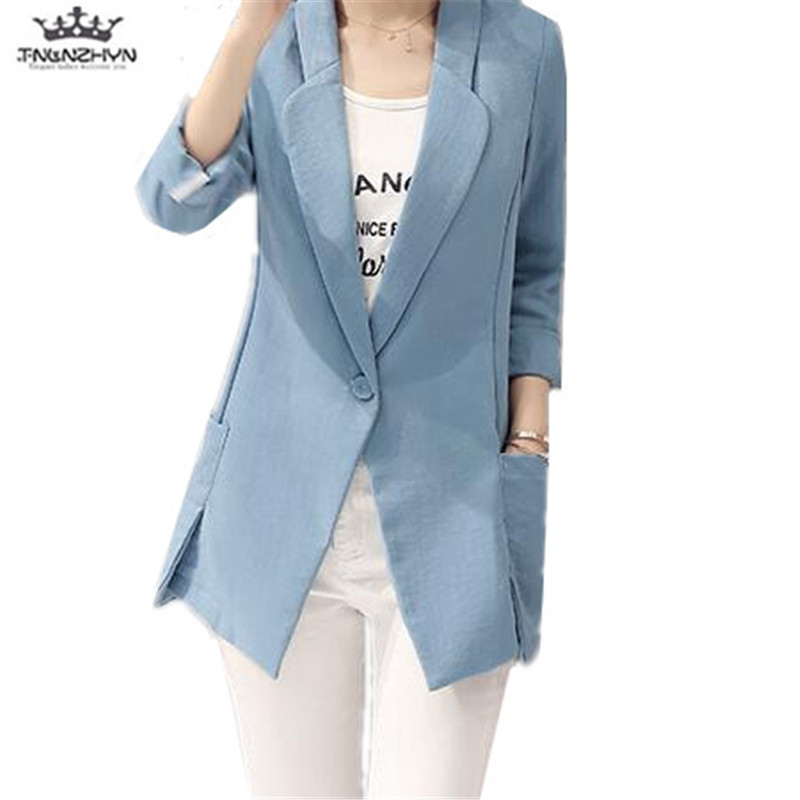 tnlnzhyn 2019 New Spring Autumn Women Small Suit Korean Slim Big yards Casual Linen Suit Coat Female Blazer Jacket Y1044