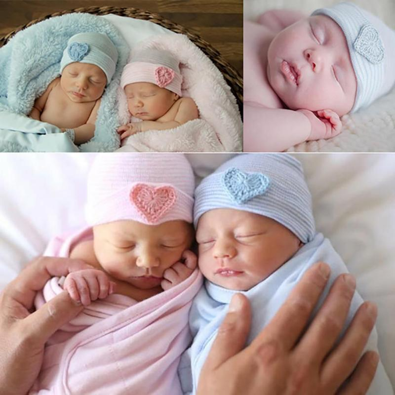 1 PC Winter Autumn Warm Cute Baby Infant Toddler Newborn Striped Caps Hospital Hats Soft Beanies Bow Hats 0-3M Christmas HAT D4