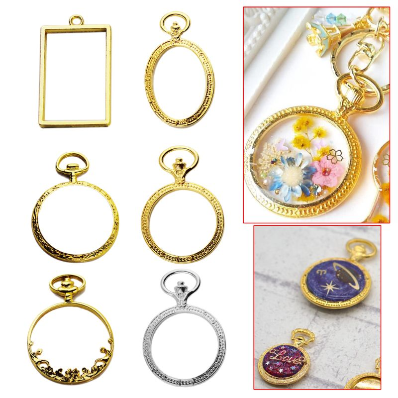 6pcs/set Metal Frame Pocket Watch Charm Pendant Bezel Setting UV Resin Charm Necklace Earring Findings Casting Craft DIY