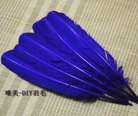 Gros 100 pcs 25 - 30 cm bleu saphir couleur véritables plumes de dinde naturelles plumes cheveux extensions plume d'oie