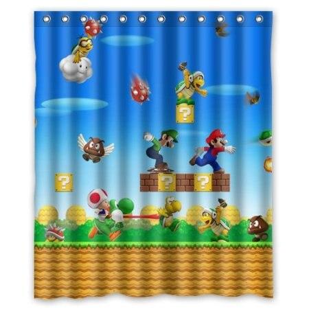 Mario Bros World Games Custom Waterproof Shower Curtain 160x180cm Bath Curtains Bathroom Products