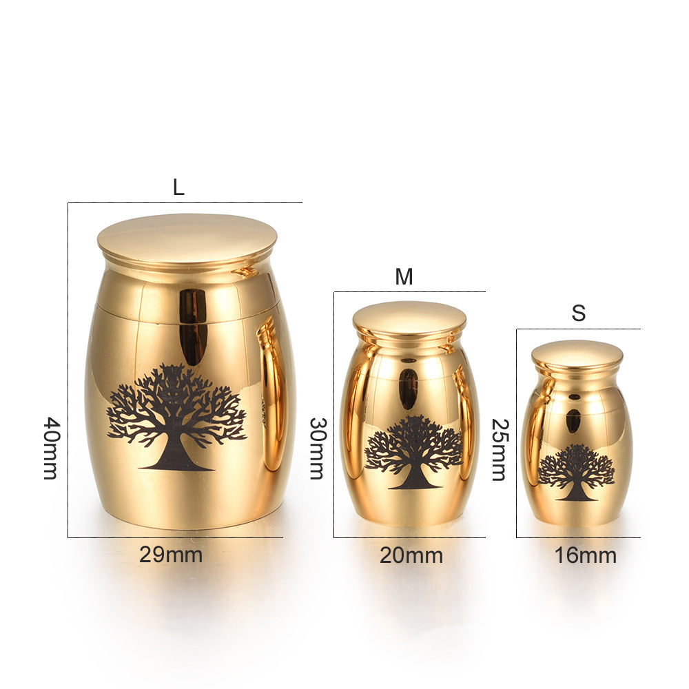 Gold Medium Cremation Urn - Tree of Life Engraved - Memorial Ashes Keepsakes