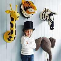 Animal girafa elefante flamingo cabeça montagem na parede brinquedos de pelúcia pelúcia decoração do quarto feltro obras de arte parede bonecas foto adereços