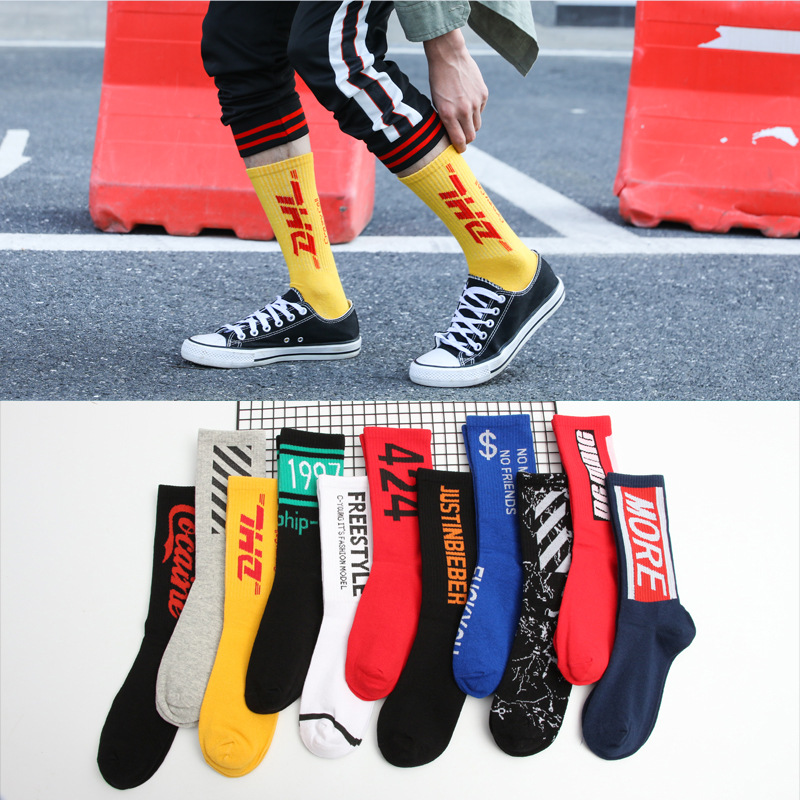 1 Pair Fashion Men Skateboard   Socks   Hip-hop Cotton Sox Breathable Meias Calcetines Letter Harajuku Cool Unisex   Socks