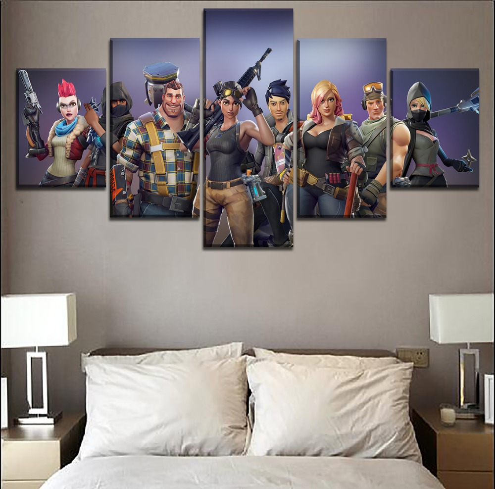 Canvas Printed Pictures Home Decorative Wall Art Framework 5 Pieces Game Fortnite Role Painting Modular Poster For Living Room 3