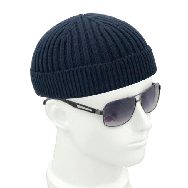 בציר אופנה גברים סרוג כובע כפת גולגולת כובע מלחים כובע שרוול שחור כהה אפור רטרו