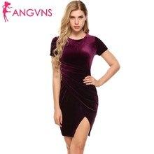 ANGVNS Elegant Irregular Ruched Bodycon Dress Women Party O-Neck Short Sleeve Solid Pencil Dresses Club Robe Prom Vestidos