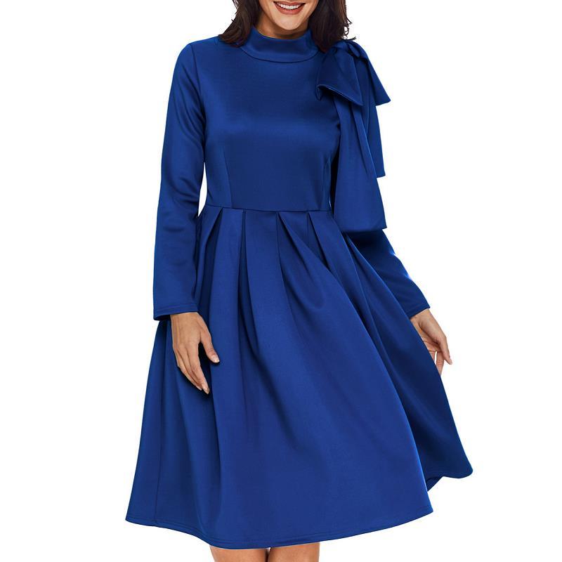 ADEWEL Autumn Long Sleeve A line Women Elegant Dress Vintage High Neck Bowknot Short Flare Party Dress Vestidos De Renda (8)