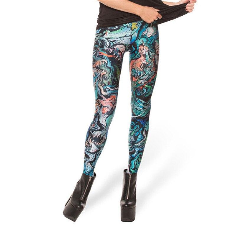 Black Milk New Sketche Sofa Merman Print Leggings For Women  Skinny Long Leggins Women Pant