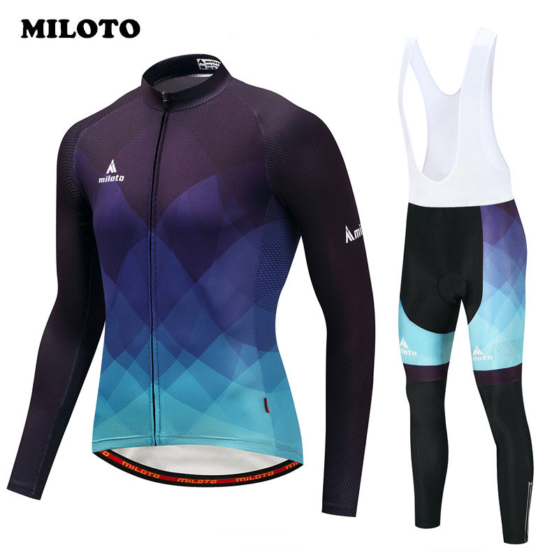 Miloto team Cycling Jersey Set Long Sleeve Autumn Racing Cycling Clothing Ropa Ciclismo mtb Bike Jersey Road Bicycle Clothing шуруповерт аккумуляторный makita dfr750rfe 18в 2х3ач li ion 4000об м 1 4 2 3кг кейс
