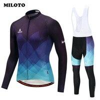 Miloto team zestaw koszulek rowerowych z długim rękawem jesień wyścigi odzież rowerowa Ropa Ciclismo mtb Bike Jersey Road odzież rowerowa w Zestawy rowerowe od Sport i rozrywka na