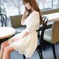 White dress vestidos de verão, vestidos oco out manga curta mistura de algodão vestidos bonitos f6832 tamanho grande frete grátis
