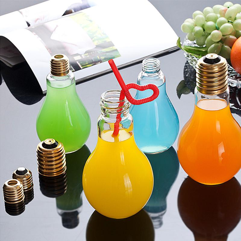 2017 Creative Light Bulb Shape 250ml Glass Cup Bottle Lamp Water Drinkware Containers