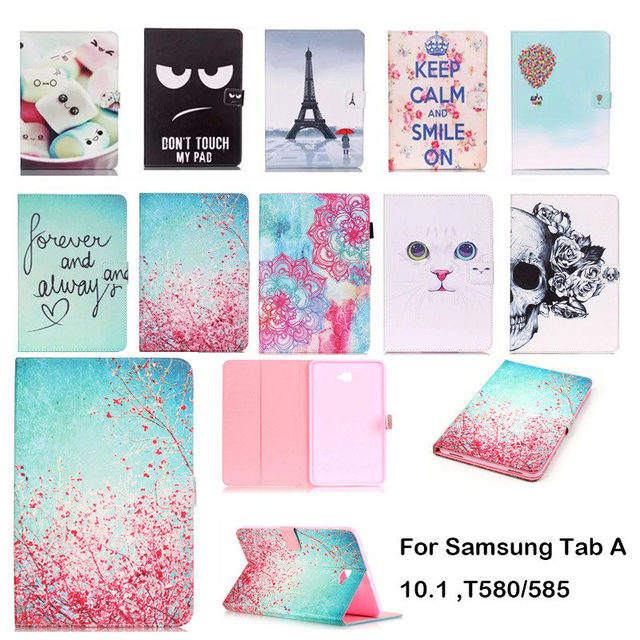 Fashion Cartoon Case For Samsung Galaxy Tab A a6 10.1 2016 T580 T585 SM-T585 Case Cover Tablet Smart Stand TPU+PU Leather Shell
