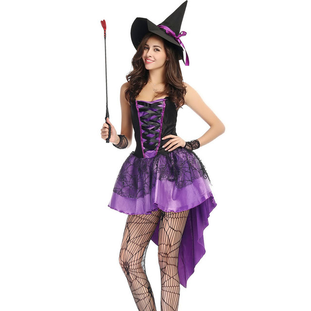 S-XXL Plus Size Large Purple Halloween Witch Costume Costumes for Women  Adult Adulto Fantasia Dress Short Hat Cosplay Clothing ac34e2b309d3