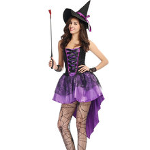 S-XXL Plus Size Large Purple Halloween Witch Costume Costumes for Women Adult Adulto Fantasia Dress Short Hat Cosplay Clothing