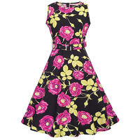 Sisjuly Vintage 1950s Red Floral Print O Neck Collar Dresses 2017 Summer Female Knee Length Party