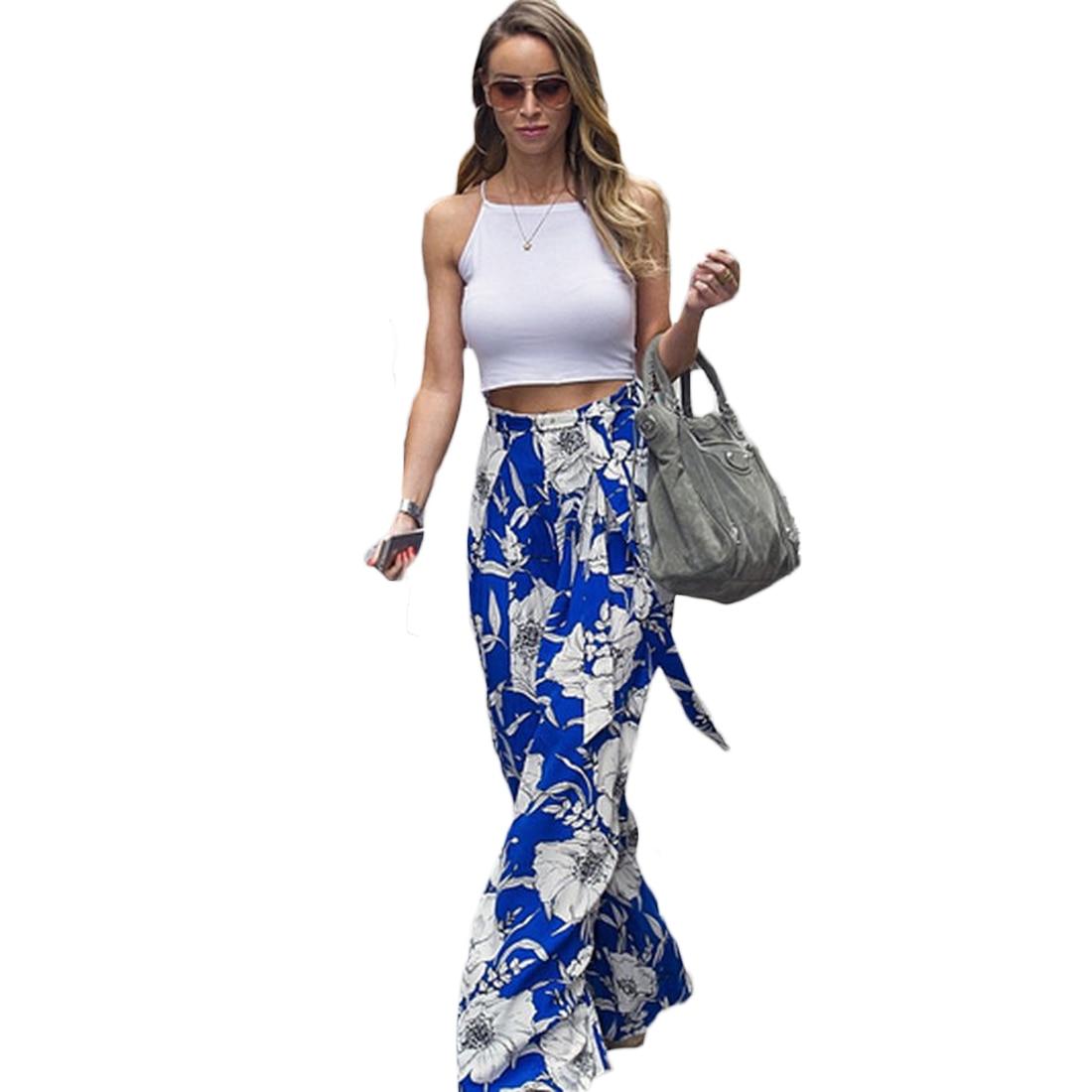 42e451210632d Large size Wide Leg Flowy Pants Women 2017 Female Trousers Bohemia Casual  Summer Beach Long Loose Pants-in Pants & Capris from Women's Clothing ...