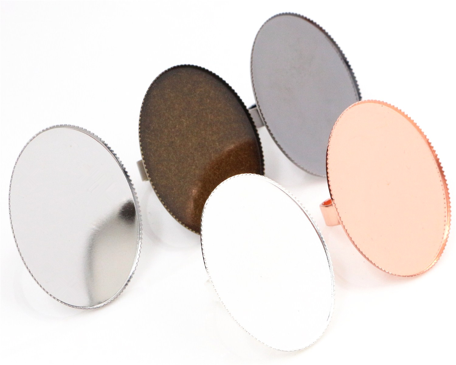 30x40mm 5pcs/lot 6 Colors Plated Brass Oval Adjustable Ring Settings Blank/Base,Fit 30x40mm Glass Cabochons