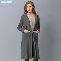 New Arrivals Autumn Winter Women Cardigans Sweaters With Cap Long Style Loose Knitting Open Stitch Sweaters Dress Plus Size