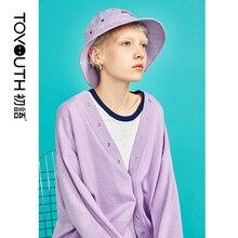 Toyouth suéteres de Color caramelo para mujer, suéter de manga larga holgado con una hilera de botones, prendas de vestir para mujer, cárdigan liso, Sueter