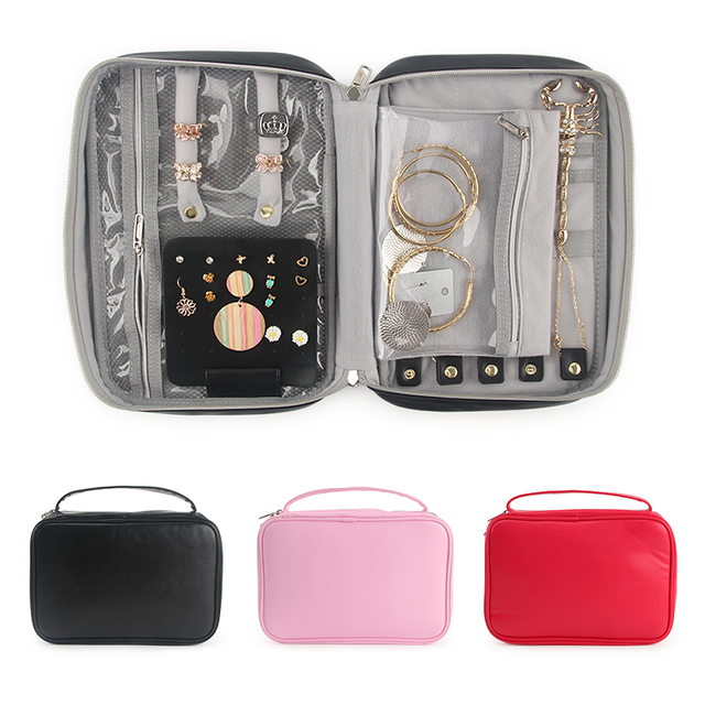 Travel Jewelry Organizer Bag Women Necklace Rings Earrings Bracelet Display Pouch High Capacity PU Traveling Jewelry Case