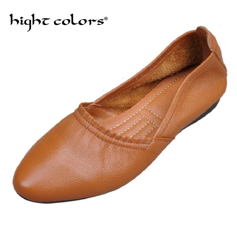 Fashion Women flats Casual Loafers Genuine Leather shoes Summer Slip on Female shoes Comfortable Ballet Women Pointed Toe Flats