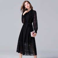 Sisjuly Spring Long Sleeves Fashion Women High Waist A Line Dress With Belt Elegant Autumn Lace