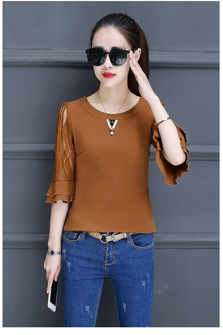 Women Blouse Summer Tops 2018 New Arrival Patchwork Blusas Mujer Lace Flare Sleeve Female Shirts Khaki Green Yellow  (4)