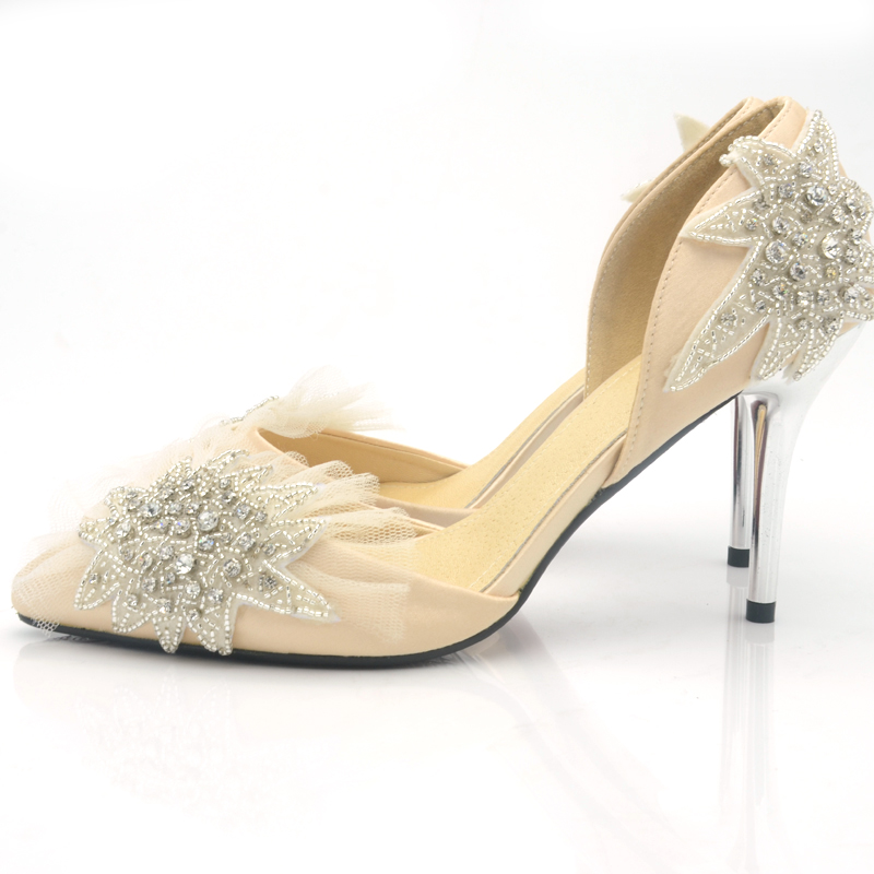 Special Price Champagne Satin Wedding Shoes Pointed Toe