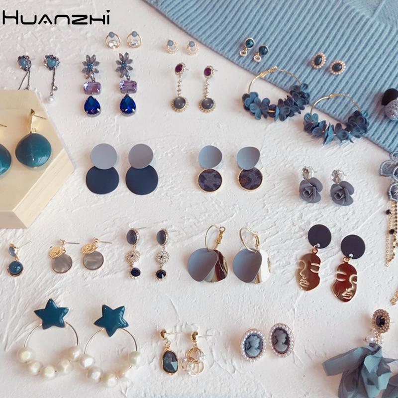 Huanchi 2019 nuevo acetato azul gris geométrico de cara humana Cristal de diamantes de imitación flor gota larga juego de pendientes para mujeres joyería de fiesta