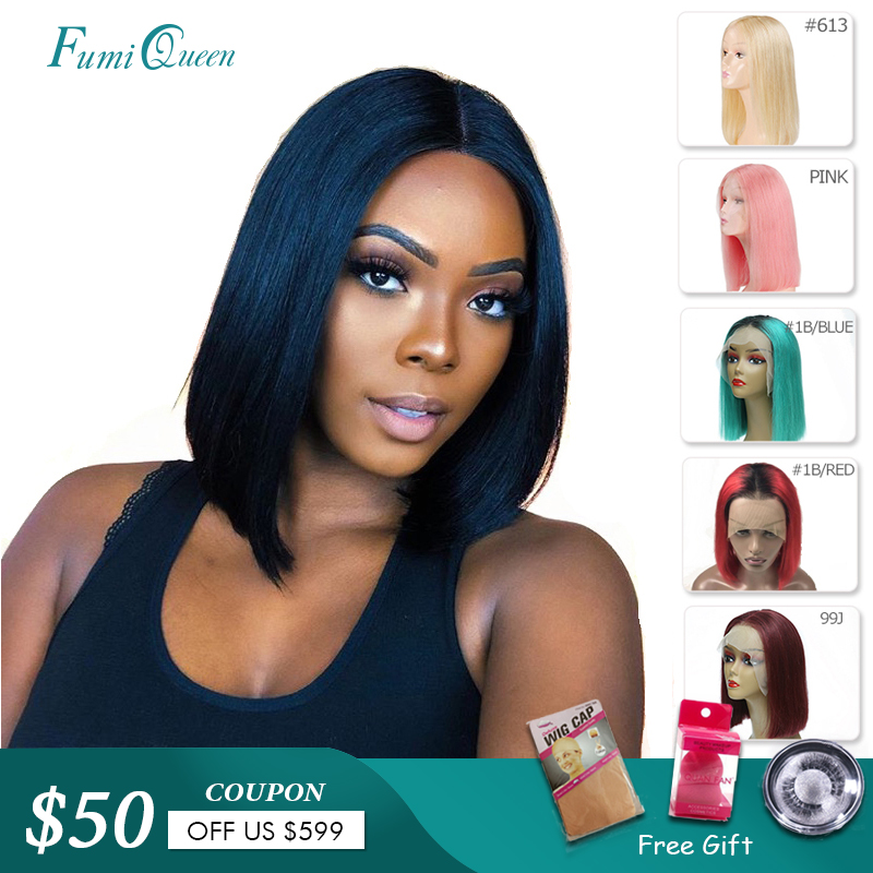 13X4 Short Bob Wigs 613/Yellow/Red/Blue/Black/Green/Pink/Grey Remy Brazilian Ombre Lace Front Wig Ali Fumi Queen Human Hair Wigs(China)