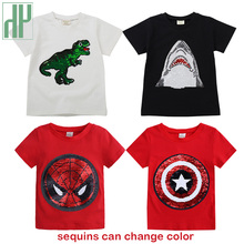Children tshirt boys Summer girls T shirt baby glitter tee kids tops magic discoloration switchable sequin dinosaur tshirt цена 2017