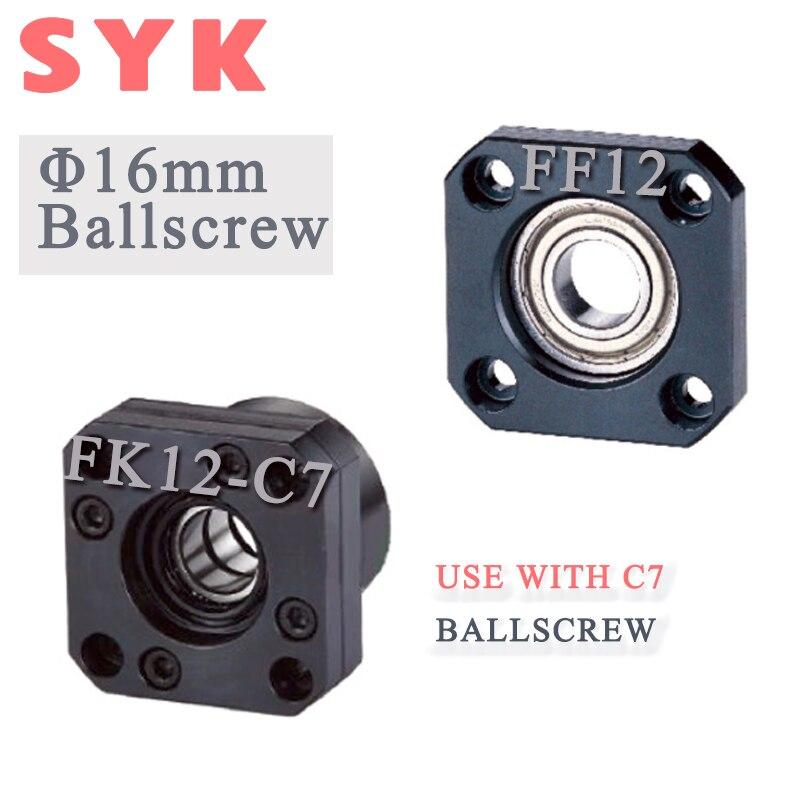 SYK 16mm vis à billes fin support FK12 fixe-côté P0 roulement en C7 + FF12 soutenu-côté TMT pour CNC