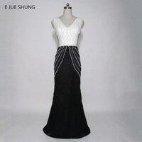 E JUE SHUNG שחור לבן פניני ללא משענת בת ים שמלות ערב ארוך 2017 לבוש הרשמי צווארון V העמוק שמלות ערבית דובאי