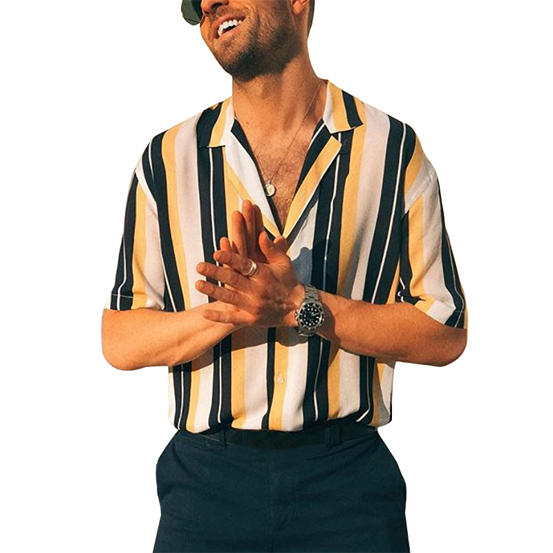 Toplimit Mens New Summer Short Sleeve Shirts Striped Print Beach hawaiian Casual Button Turn-down Collar Versatile Top Blouse