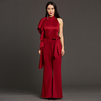 Women One Shoulder Ruffle Jumpsuits Playsuit Sexy Backless Sexy Jumpsuits Ladies Office Elegant Party Bowknot Wild