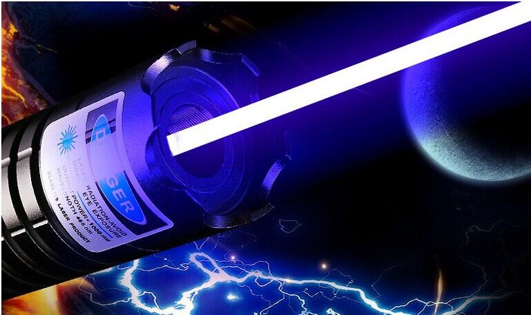 Haute puissance Laser Bleu pointeur 1000000 mw 1000 w 450nm lampe de Poche Combustion correspondance/papier/bois sec/bougie/noir/Brûler Cigarettes + 5 cap