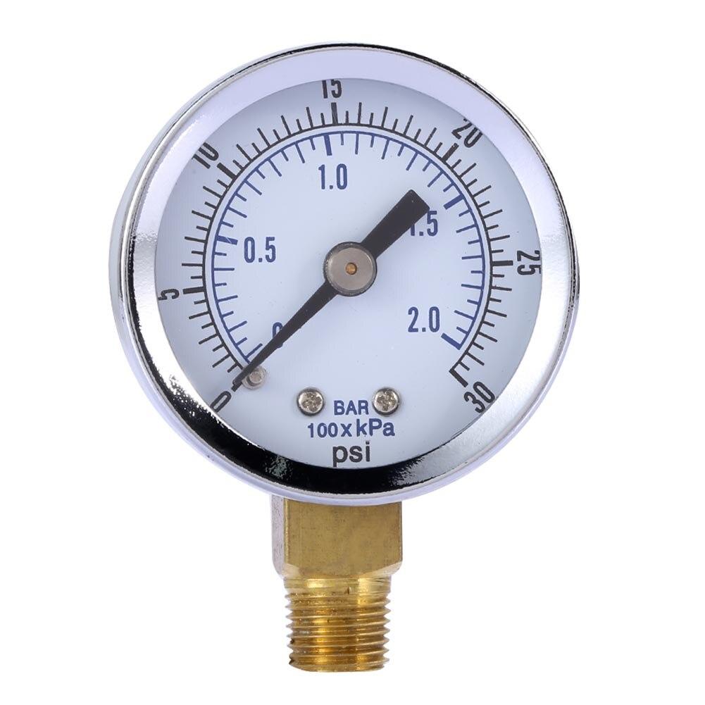 "Industrial <font><b>0-30</b></font> PSI <font><b>Air</b></font> Pressure <font><b>Gauge</b></font> 1/8"" NPT <font><b>Air</b></font> Compressor / Hydraulic Pressure <font><b>Gauge</b></font> Side Mount 1.5"""