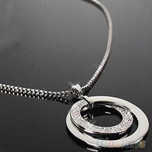 Sprzedają się jak ciepłe bułeczki OL temperament elegancki srebrny okrągły naszyjnik podwójne koło długi sweter naszyjnik łańcuch dla kobiet