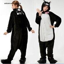 Midnight Cat Onesies Anime Cosplay Pajamas Adult Animal Black Onesie Sleepwear Sleepsuit for Unisex
